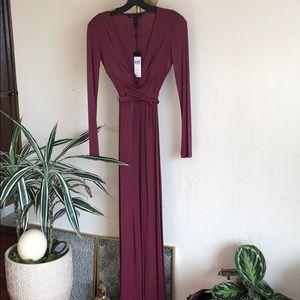 BCBG Merlot Long Sleeve Maxi Dress - Wrap Waist